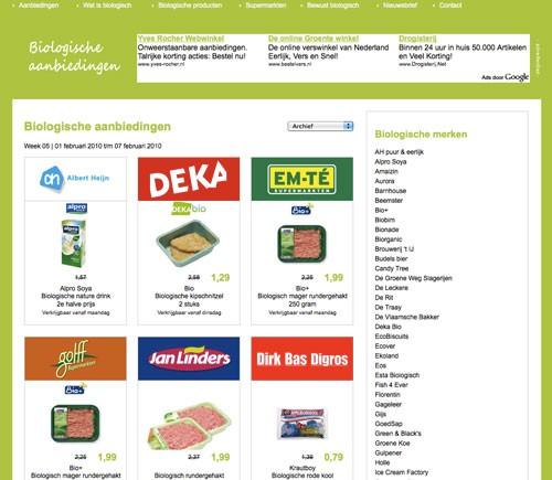 Biologische aanbiedingen supermarkt