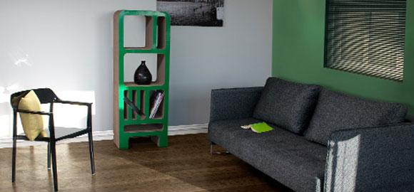Boekenkast gemaakt van 100% recyclebaar karton Duurzaam thuis