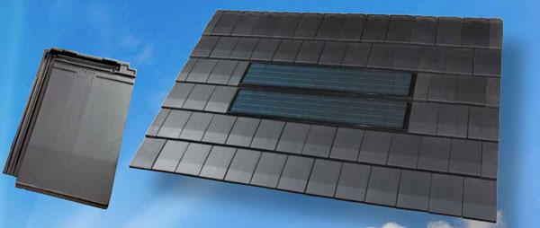 Zonnepaneel geïntegreerd in dakpan