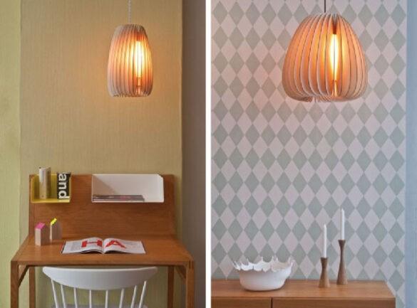 Houten lamp warm