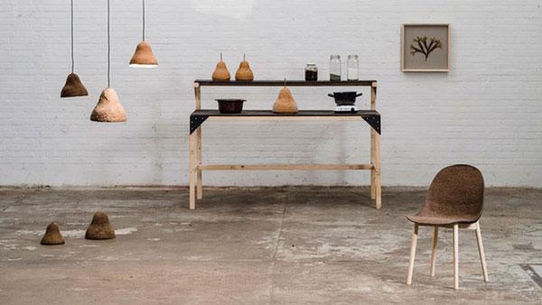 Hippe meubels gemaakt van zeewier