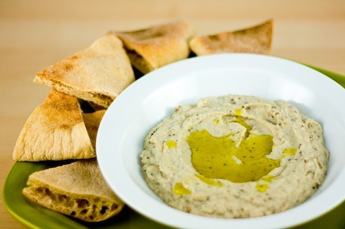 Baba ghanoush pita vegatarisch lunch