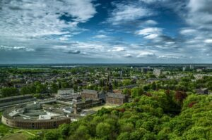 City view of groningen within the trees in the netherlands scaled