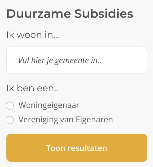 Duurzame subsidie tool