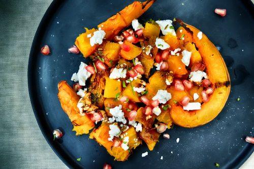 Pumpkin sweet potato salad vegetarian cheese pomegranate